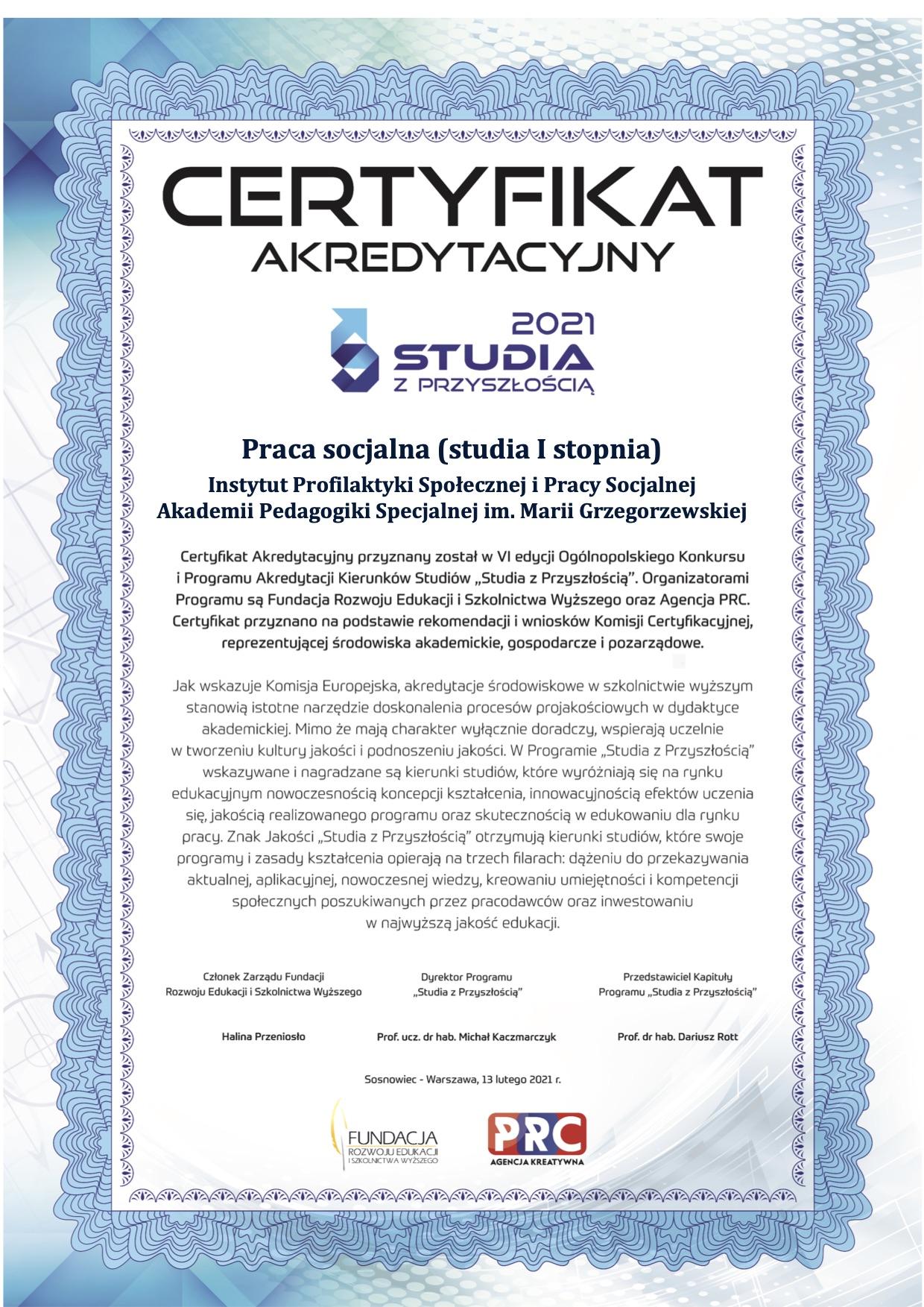 Certyfikat Studia z przyszłością dla kierunku praca socjalna